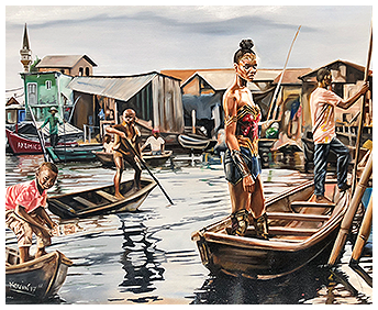 A Painting of People in Boats - African Heritage Art in Roselle, NJ, by AkomicsArt LLC