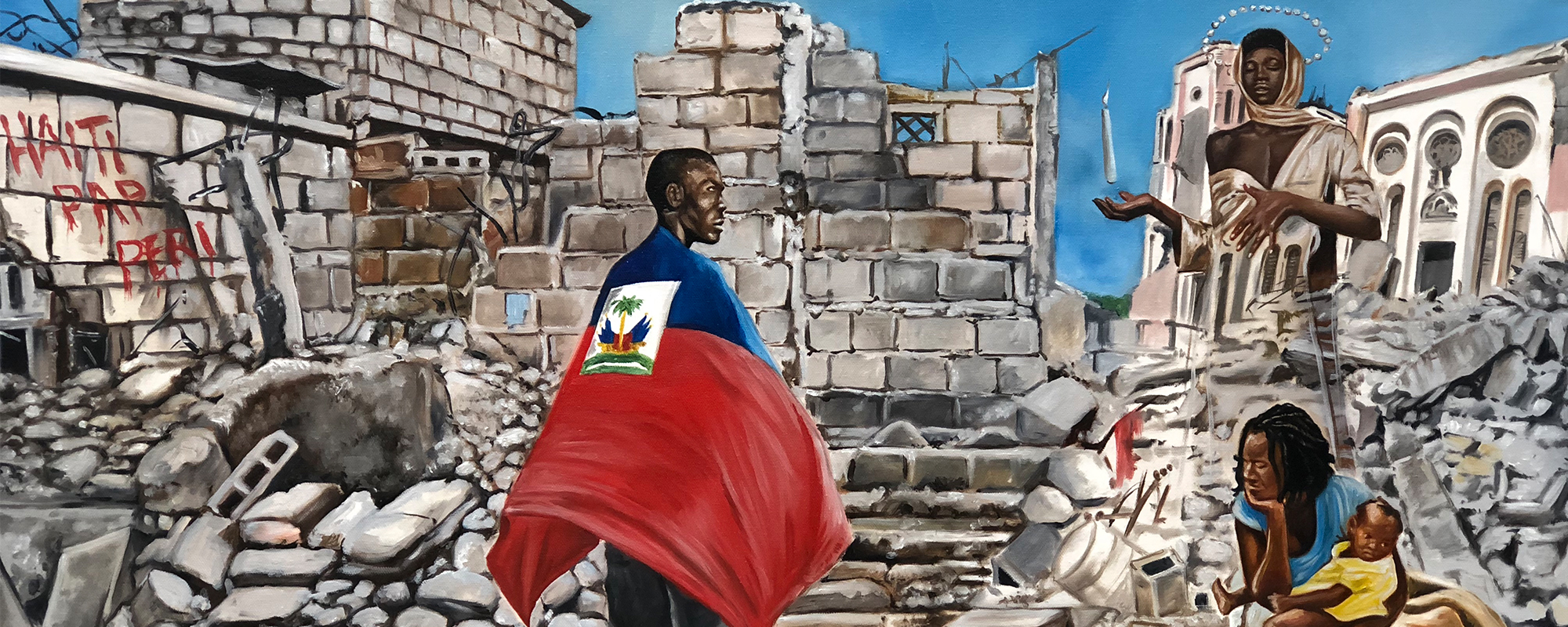 Haitian Rubble Painting - Artwork by Haitian Visual Artist in Roselle, NJ, Kervin Andre