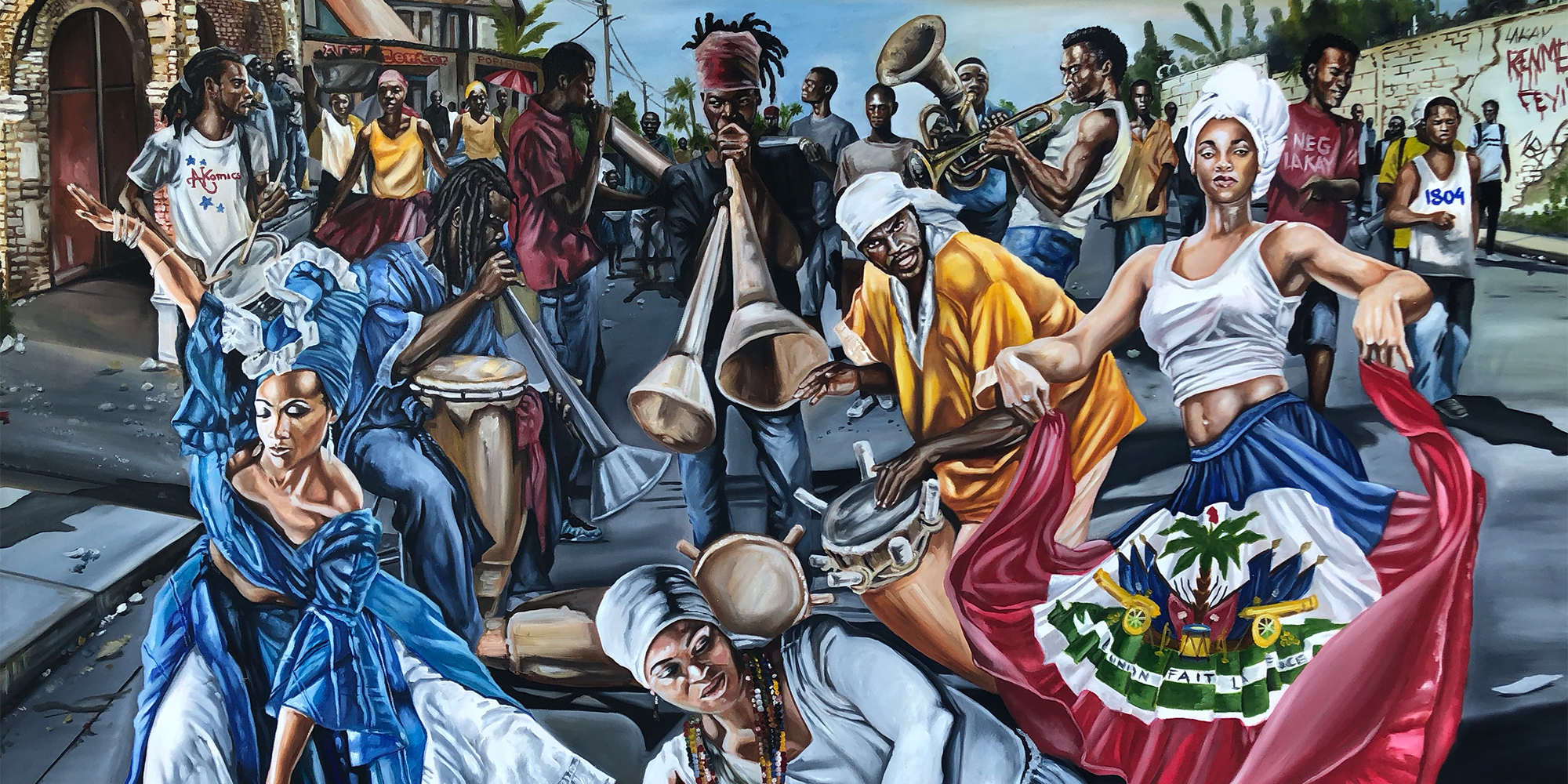 Parade in the Streets Painting - African Heritage Art in Roselle, NJ, by AkomicsArt LLC